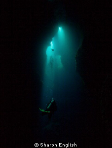 'Into the light' on a dive site named Cathedral in Port V... by Sharon English 